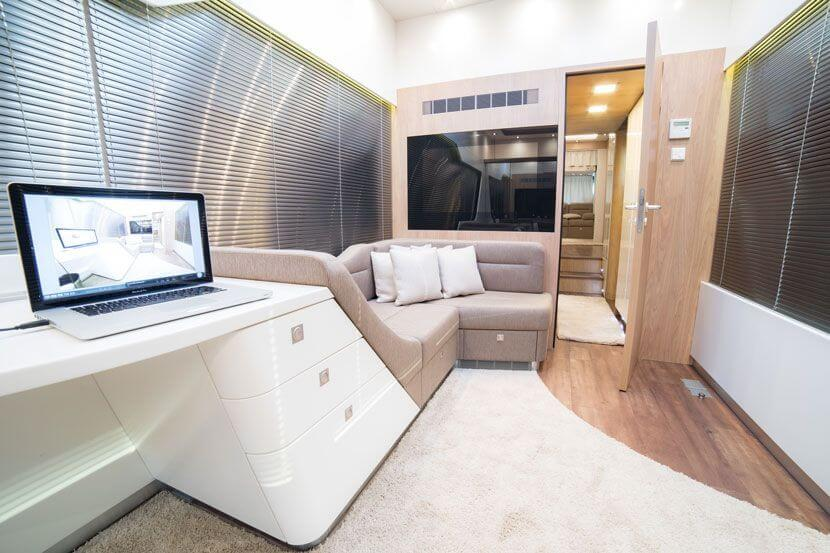 Living room and office  in an exclusive motorhome by eila